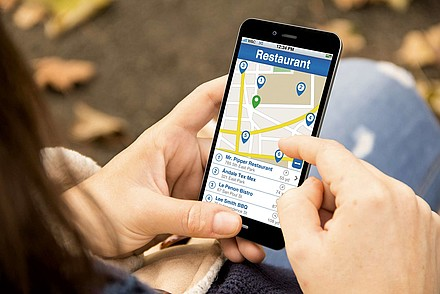 Smartphone with Restauran App open